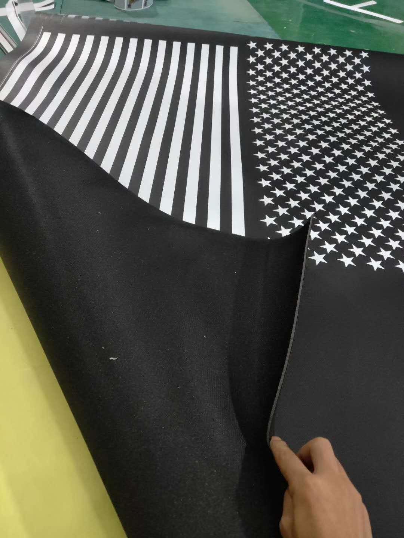 UV彩印-黑色皮革白墨打印数码印花